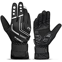 INBIKE Mountain Bike Gloves Cycling Gloves MTB Winter Gloves Silicone Gel Pad Gloves Touch Recognition Full Finger Black X-Large