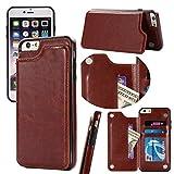 iPhone 7 Case/iPhone 8 Wallet Case Leather PU+TPU Protective Cartera Funda Cuero Portfolio Protección Carcasa Bumper Card Slots Billetera Tacto Suave Ranura Tarjeta Bolsillo (Marrón)