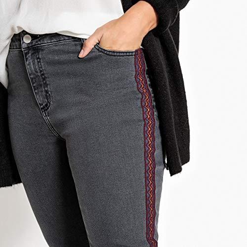 Jeans Laterali Castaluna Gambe Donna Grigio Ricami Con Slim qgFUaUxz