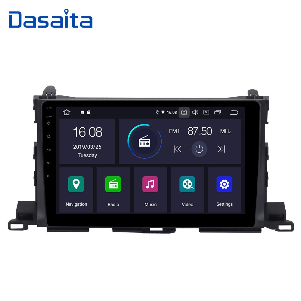 Dasaita 10.2 inch Large Screen Single Din Android 9.0 Car Stereo for Toyota Highlander 2015 2016 2017 2018 Radio with GPS Navigation 4G Ram 64G ROM Built in DSP Dash Kit Meomery Card