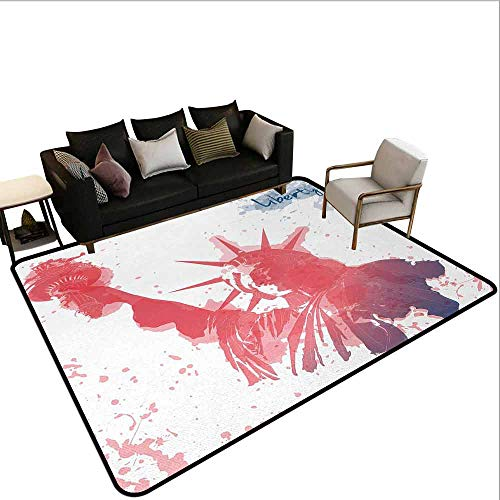 AlEASYHOME Non Slip Pad Rug Carpet, Watercolor Lady Liberty Silhouette with Paint Splashes Independence, 3′x5′ Hardwood Or Tile Floors Protection, Dark Coral Pale Blue