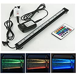 Xcellent Global 18 Inch 27 RGB LED Multi-color Remote Underwater Submersible Aquarium LED Light Air Pump Bubble Light Strip Bar Flood Light Strip & Airstone for Fish Tank LD063S