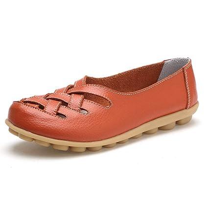 Mujer Zapatos Planos Cuero Cross Hueco Soft Único Ligero Mocasines Talón Bajo Naranja Ronda Toe Slip