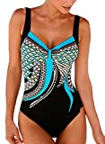 EVALESS Women Summer Monokini Swimwear Knot Low Back Floral Print Push Up Tummy Control Swimsuits Medium Blue