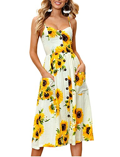 Halife Womens Sunflower Pattern Backless Button Sundress with Pockets L,Yellow (Denim Jacket Custom)