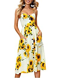 Women's Summer Floral Print Strap Casual Button Midi...