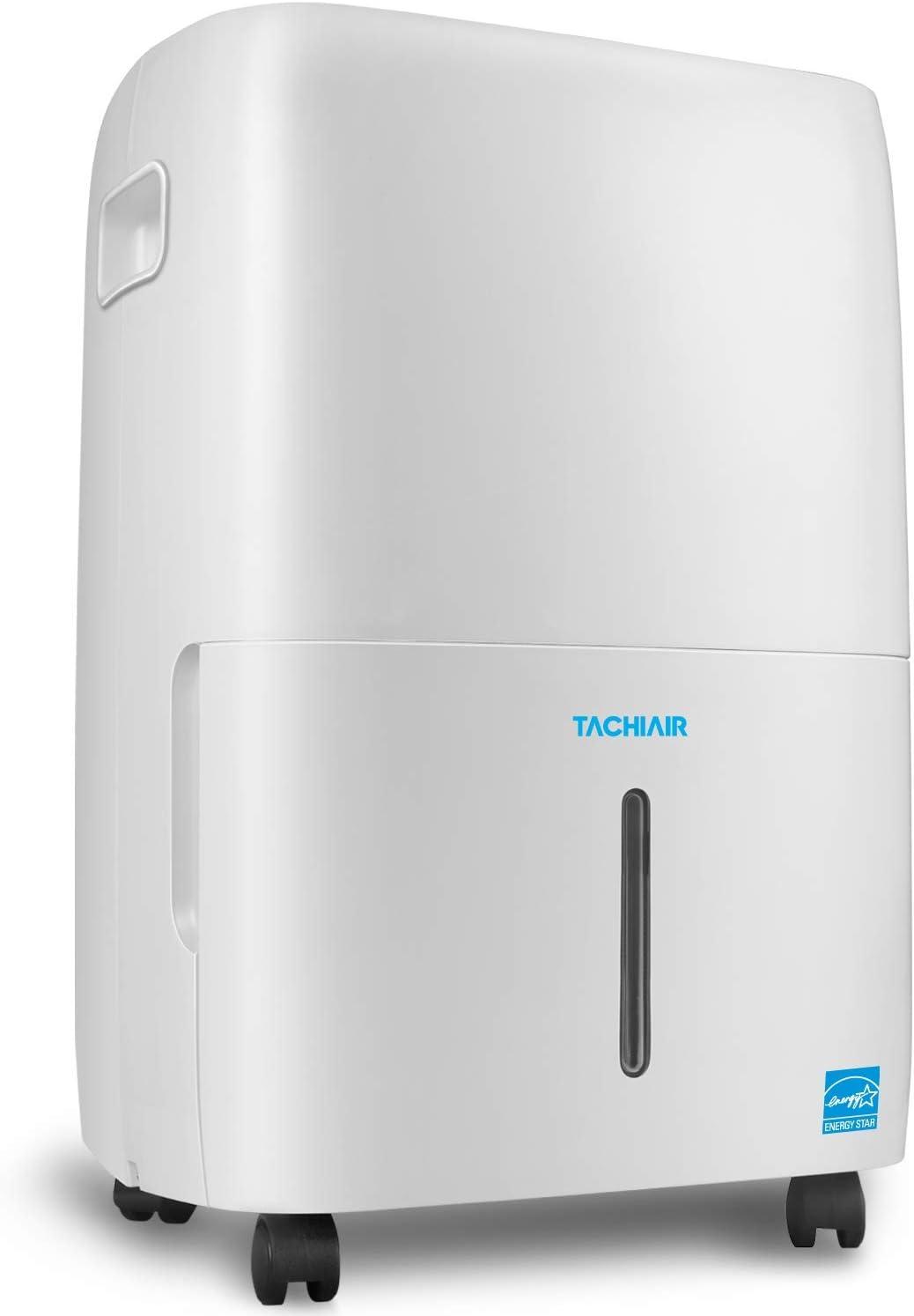 TACHIAIR Dehumidifier for Basements, 70-pint Energy Star Portable Dehumidifier, Intelligent Humidity Control, Auto Shutoff/Restart, 3 Fan Speeds Optional and Easy Roll Wheels(50 pint New DOE)
