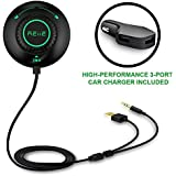 Bluetooth Car Kit Bluetooth Adapter REIIE Bluetooth Stereo Receiver for car, Calling&Music Streaming with Built-in Mic Echo and Noise Reduction Siri/Voice Activation for Car with 3.5mm Aux