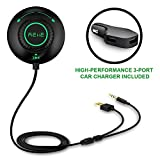 Bluetooth Car Kit Bluetooth Adapter REIIE Bluetooth Stereo Receiver for car, CallingΜsic Streaming with Built-in Mic Echo and Noise Reduction Siri/Voice Activation for Car with 3.5mm Aux