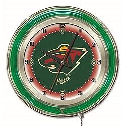Minnesota Wild HBS Neon Green Hockey Battery Powered Wall Clock (19)