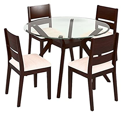 b232f85eaf2 Image Unavailable. Image not available for. Colour  Urban Ladder Wesley -  Cabalo (Fabric) 4 Seater Round Glass Top Dining Table Set