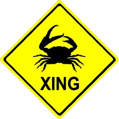 "12""x12"" aluminum metal Crab XING. Crossing zone novelty sign"