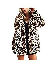 Women's Warm Long Sleeve Parka Faux Fur Coat Overcoat Fluffy Leopard Print