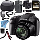 Panasonic Lumix DC-FZ80 DC-FZ80K Digital Camera + Rechargable Li-Ion Battery + Home Car External Charger + Sony 128GB SDXC Card + Carrying Case + Tripod + HDMI Cable + Fibercloth + Flash Bundle