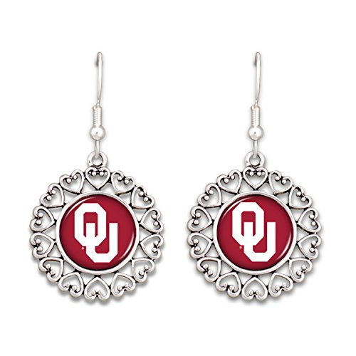 - FTH Oklahoma Sooners Logo Circle Earrings with Hearts
