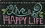Toland Home Garden Happy Life Chalkboard 18 x 30 Inch Decorative Floor Mat Inspirational Doormat