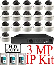 USG 3MP IP CCTV Kit: 1x 16 Ch @ 3MP NVR + 16x 3MP IP PoE 2.8-12mm Dome Cameras + 3x 3TB HDD (9TB Total) Ultra High Definition Video Surveillance For Your Home or Business!