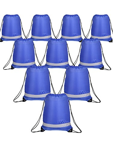 - Shappy 10 Pieces Drawstring Bag Sack Pack Cinch Tote Kids Adults Storage Bag for Gym Traveling (Reflective Royal Blue)