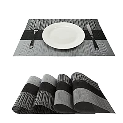 GEFEII Exquisite Bamboo PVC Placemats Woven Vinyl Non-Slip Kitchen Place Mats for Dining Wedding Party Heat-Resistant Waterproof Table Mats (Ombre Black and Gray, 6) - Bamboo Placemats Material:High quality and environmentally PVC Woven Vinyl,These PVC Place Mats are made of 70% PVC and 30% polyester yarn,which makes this place mats sets are co-friendly and safe for dining table use Easy to clean up:our black placemats Heat-insulation,wear resistance,durable,easy to wash,wipe to clean Unique design:Exquisite and elegant table pads,protect your dinner table from junk food,good decoration to improve your life quality,The dinner table mats effective insulation could reach to 80℃, could protect dinning table from scalding and create a enjoyable dining environment - placemats, kitchen-dining-room-table-linens, kitchen-dining-room - 51xPRbBqBPL. SS400  -