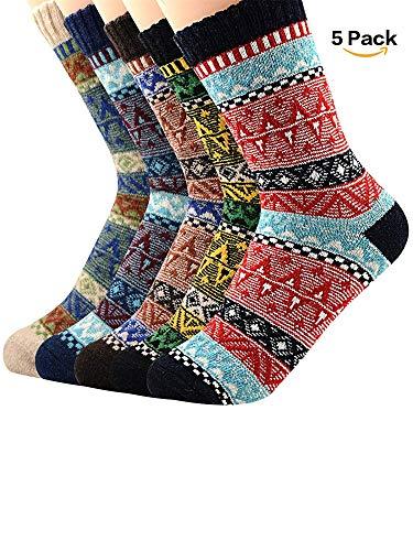 5 Pack Womens Thick Knit Warm Casual Socks Wool Crew Winter Socks For Women