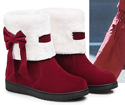 Warm Snow Red Toe Booties Shoes Aisun Tops Ankle Slip Slip Wine Bows High Women's Cute With Round On Non Flats ER4qFwO