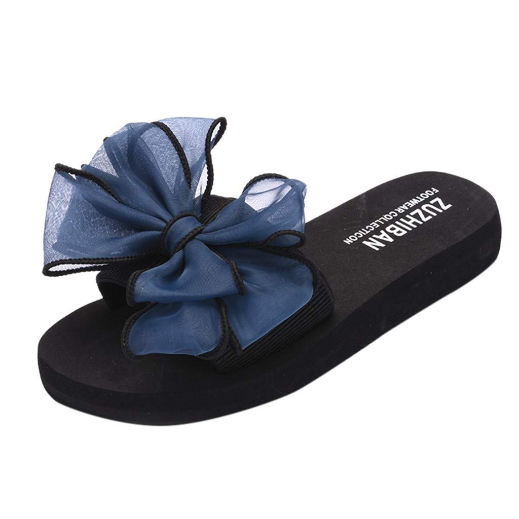 2019 New! Women Summer Lace Bow Slippers Flat-Bottomed Slip-On Wear Thick-Soled Sandals Platform Anti Skidding Shoes (Blue, 8 M US)