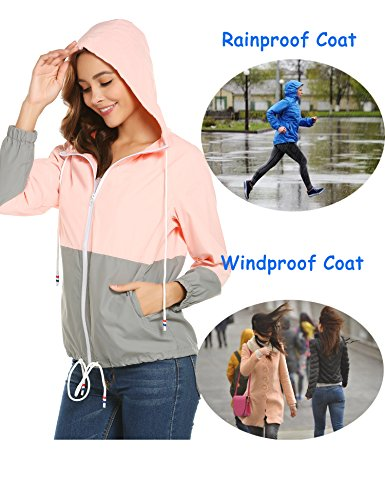 Exterior Chaqueta Chaqueta Capucha zhenwei para con Mujer Rosa para Impermeable Deportiva Gris Mujer Ligera d0wc6qwX