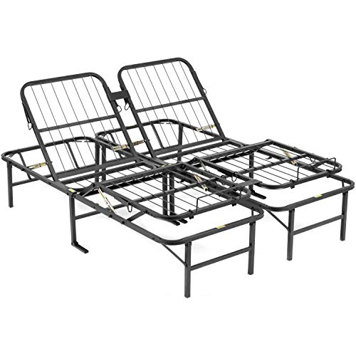 Adjustable Bed, Sturdy Metal Powder-Coated Frame Construction, 10-Position Head up to 80 Degrees Adjust and Foot up to 30 Degrees, Durable Wire Mesh Platform Support, 14