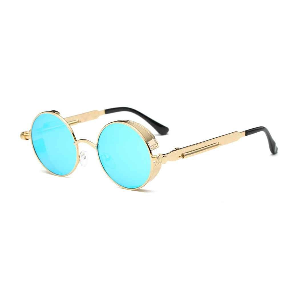 Minzhi Frauen M?nner Steampunk Sonnenbrillen Metallrahmen Runde Brillen UV400 Brillen