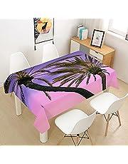 Oduo bordsduk i vattentät polyester, rektangel, 3D kokospalm-tema, heminredning, fläckbeständig, dammsäker, lätt att torka ren, skrynkelbeständig, för fester, matbord