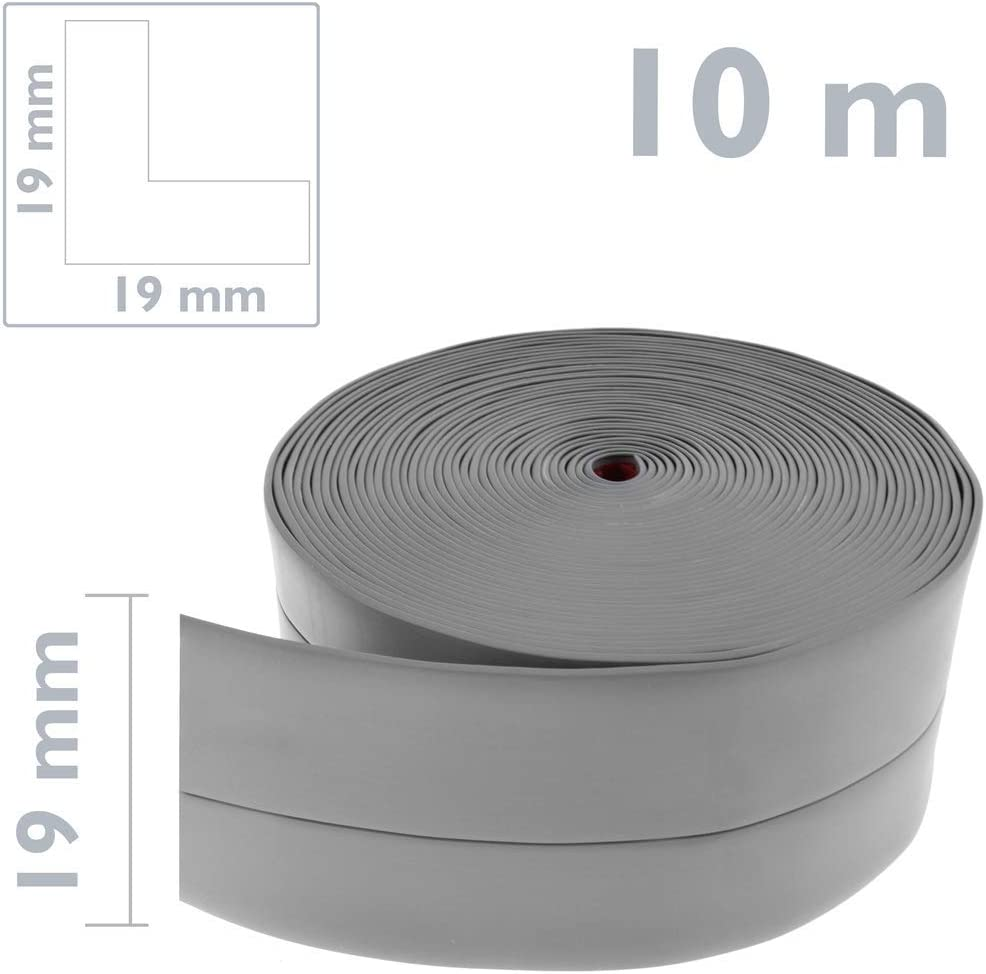 PrimeMatik Longitud 10 m Gris Rodapi/é Flexible Autoadhesivo 19 x 19 mm