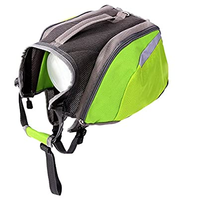 zhouyuanbiao Dog Backpack Hiking for Dogs, Waterproof Hound Saddle Bag,Package with 2 Removable Bags for Medium & Large Dog,Green