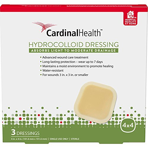 Cardinal Health HC44RR 4-inch x 4-inch Hydrocolloid Wound Dressing (15), 15 Count Case Pack