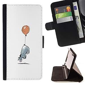 - Minimalist Cartoon Kids - - Prima caja de la PU billetera de cuero con ranuras para tarjetas, efectivo desmontable correa para l Funny HouseFOR HTC Desire 820