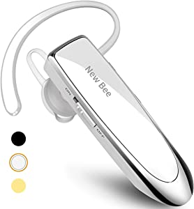 New bee Bluetooth Earpiece V5.0 Wireless Handsfree Headset 24 Hrs Driving Headset 60 Days Standby Time with Noise Cancelling Mic Headsetcase for iPhone Android Laptop Truck Driver White (White)