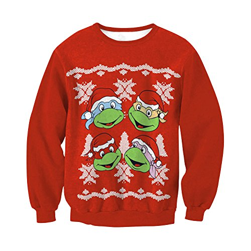 VOLINER Unisex Ninja Turtles Print Sweatshirt Ugly Christmas Pullover Sweater -