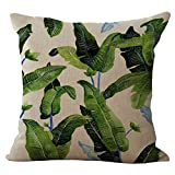 Floral Leaves Cushion Cover ChezMax Cotton Linen Throw Pillow Case Sham Square Pillowcase For Seniors Bedroom Sofa Couch Rocking Chair Seat