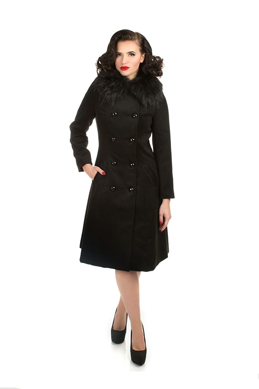 1950s Jackets, Coats, Bolero | Swing, Pin Up, Rockabilly Hearts & Roses Chrissette Coat in Black (Shipped from The US US Sizes) $64.88 AT vintagedancer.com