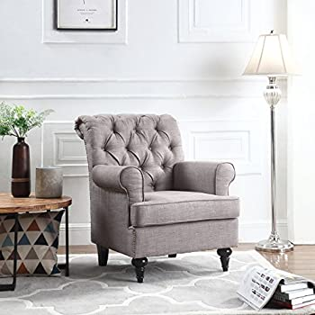 Amazon Com Classic Tufted Scroll Arm Chesterfield Linen