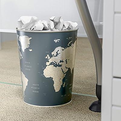 Balvi Papelera Globe Color Negro diseño? Mapa Mundo Lata 26x22x17 ...