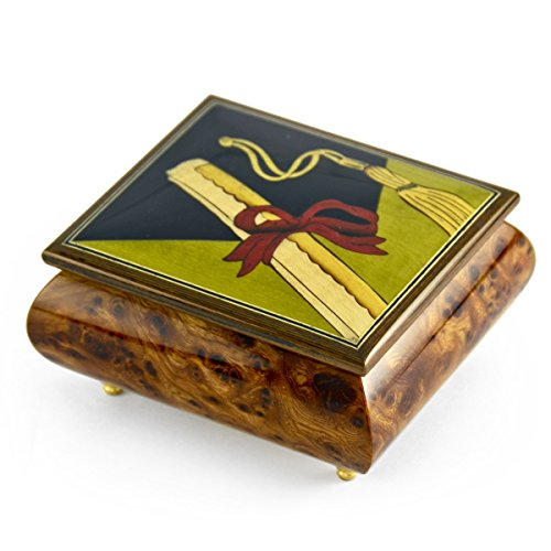 Incredible Graduation Cap with Diploma Wood Inlay Music Box - Flash Dance by MusicBoxAttic