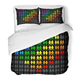 Emvency Bedding Duvet Cover Set Twin (1 Duvet Cover + 1 Pillowcase) Gay Couples That Form Multicolored Heart and Stand Out from The Gray Crowd Hotel Quality Wrinkle and Stain Resistant
