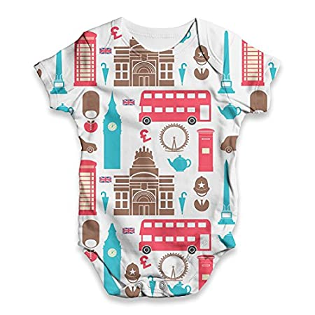 TWISTED ENVY London Pattern Baby Unisex Funny All-Over Print Bodysuit Baby Grow Baby Romper 51xPUOT3zLL