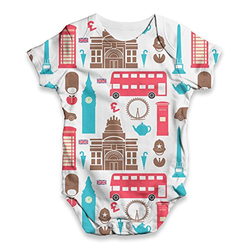 (TWISTED ENVY Baby Unisex London Pattern All-Over Print Bodysuit Baby Grow Baby Romper 12-18 Months White)