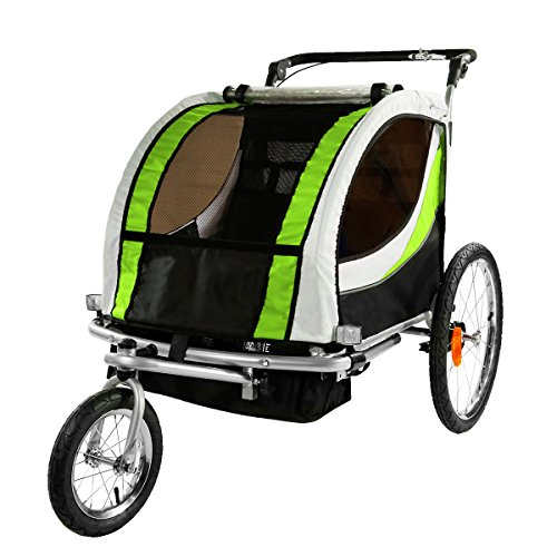 Clevr Green Collapsible 2 Seats 2-In-1 Double Bicycle Trailer Baby Bike Jogger/Stroller Jogging Running Kids Cart Bike | Suspension & Pivot Front Wheel