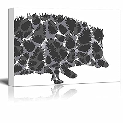 Astonishing Portrait, Pins and Needles Hedgehog and Pinecones Silhouette Black and White Exclusive Artwork Quirky Fun Design, Made to Last