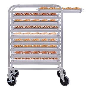 CHEFJOY Aluminum Kitchen Bun Pan Sheet Rack w/Wheels 2 Lockable Home Commercial Use Bakery Cooling Rack Open Shelf
