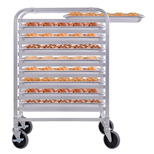 Giantex 10 Tier Aluminum Bakery Rack Home Commercial Kitchen Bun Pan Sheet Rack Mobile Sheet Pan Racking Trolley Storage Cooling Rack w/Lockable Casters by Giantex (Image #1)