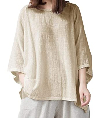 e0ba1bf1f Coolred-Women 3/4 Sleeve Oversized Linen Vintage Blouse Lounge Top T-Shirt