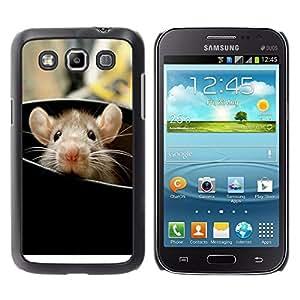 KOKO CASE / Samsung Galaxy Win I8550 I8552 Grand Quattro / rata roedor lindo que mira a escondidas oídos animal grande / Delgado Negro Plástico caso cubierta Shell Armor Funda Case Cover